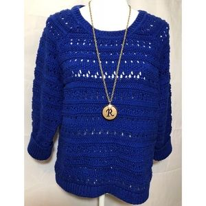Cato royal blue open knit sweater size 18/20